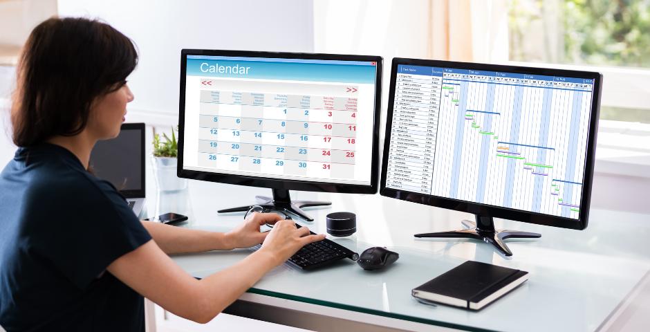 Mulher observa tela do computador com um planner e um gráfico